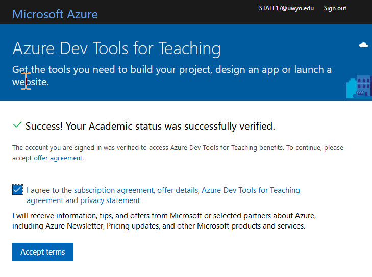 Azure Dev Tools Academic Status screen