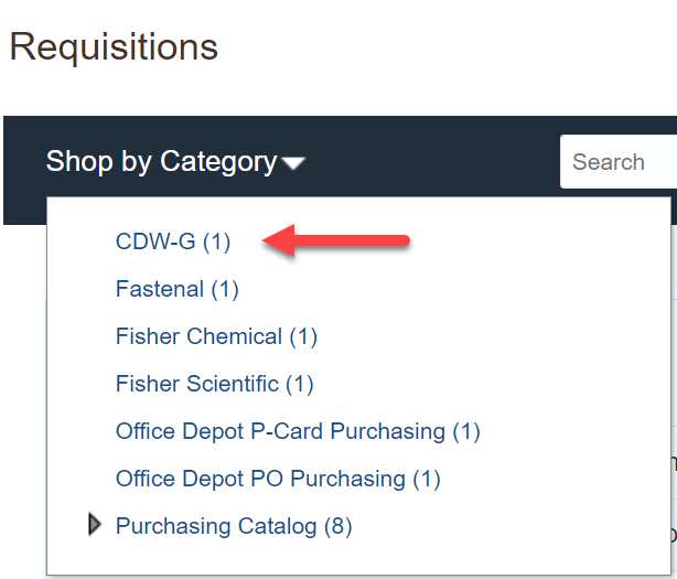 CDW-G link on Requisitions page