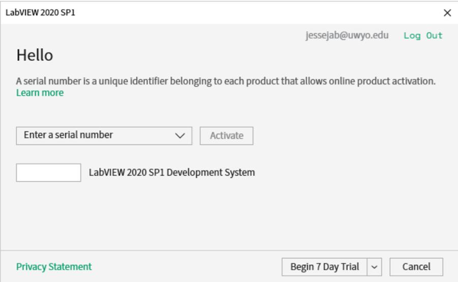 Lab View activation option window