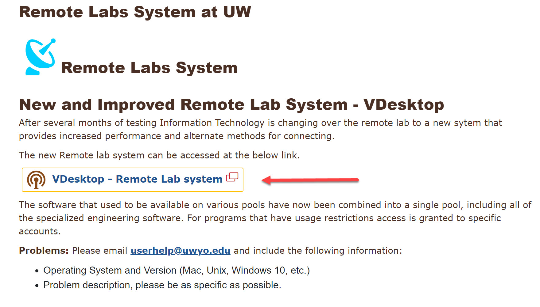 Remote Lab Page screen shot