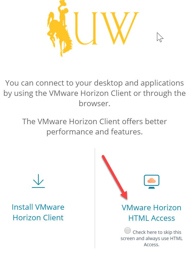 Client Access description page - VMWare client or HTML access